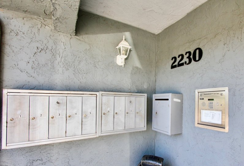 A sunny day in the area of 2230 Monroe Ave, mailboxes, buzzer, porch light, outside