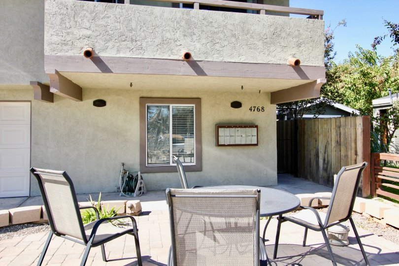 Hardscape of 4768 35th St with a table and chairs for entertaining