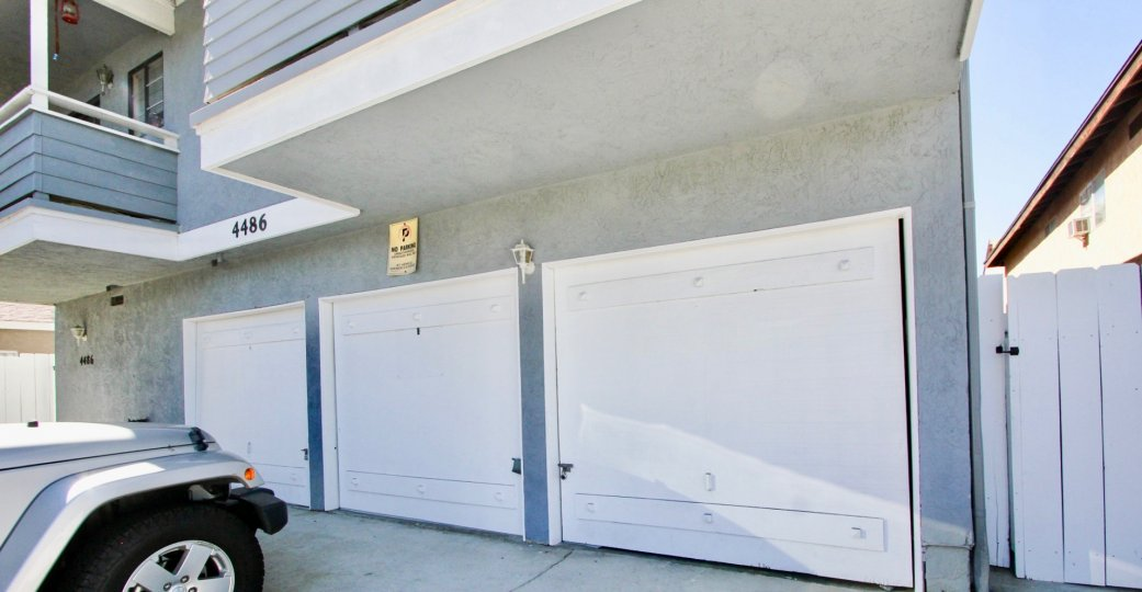 Spacious car garages in the community of Cape West in California.