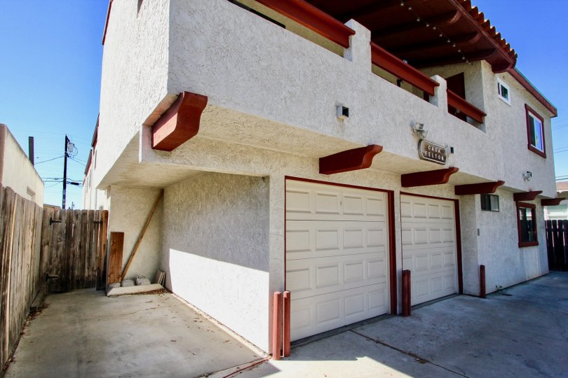 Corner side view with garage door of Casa Felton, Normal Heights, CA