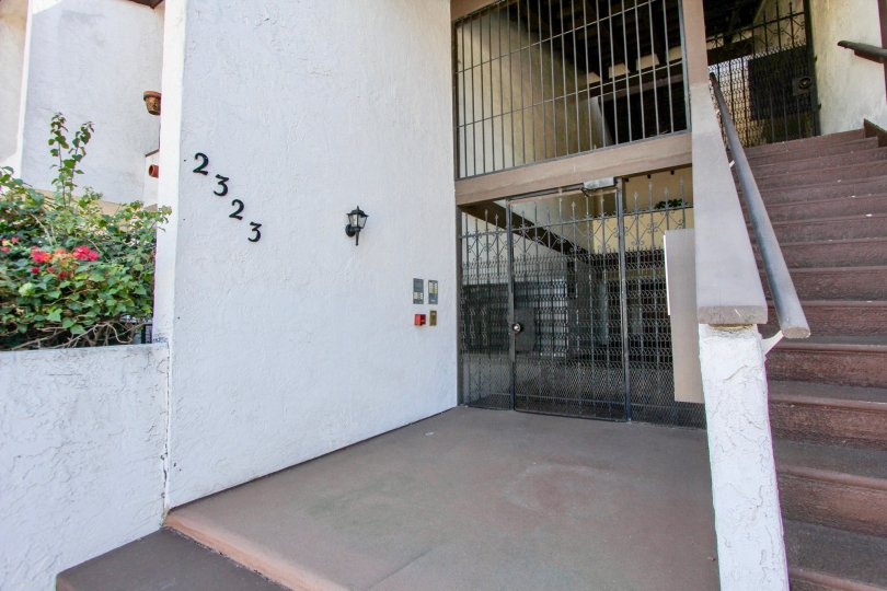 Secure and safe gated entry point and stairs to the Casa Monterey in Normal Heights, California