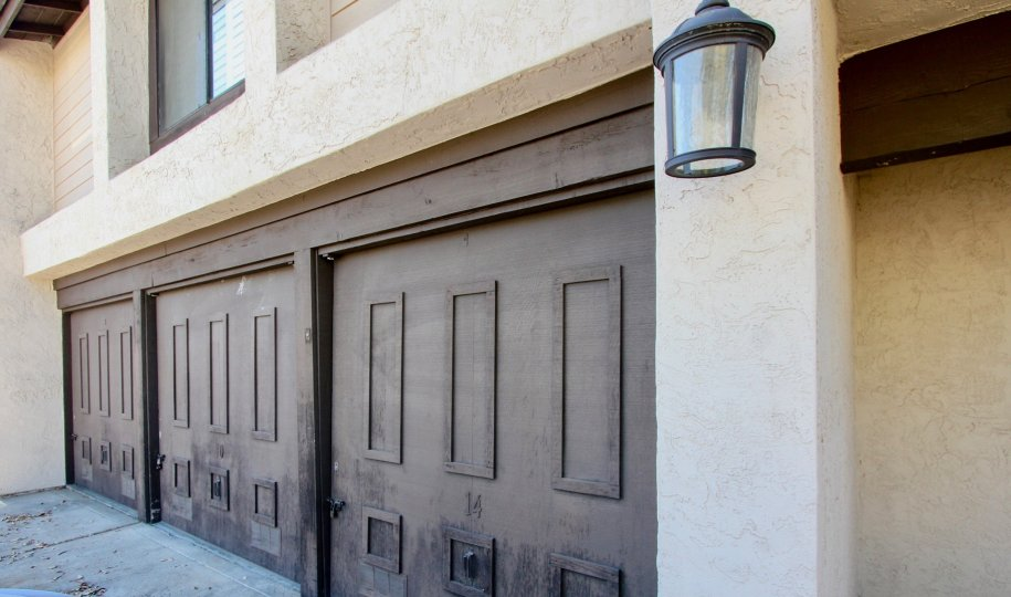 Garage doors outside Garden Heights in Normal Heights, California