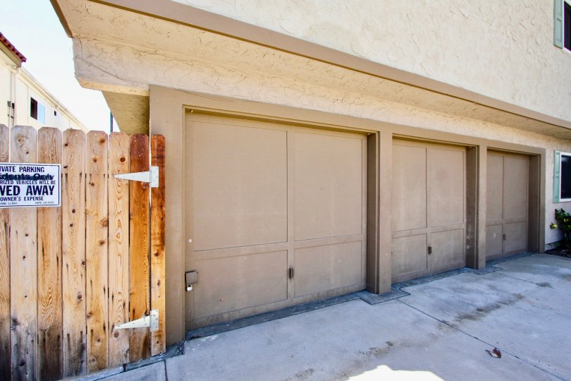 Secure garages in Hawley Boulevard community in Normal Heights, California.
