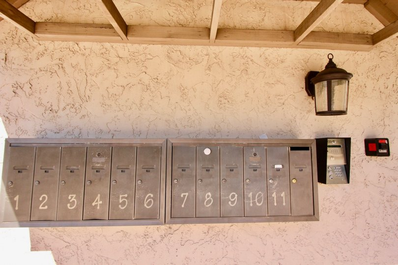 Mail boxes, Hilltop Condominiums, Normal Heights, California, Secure Entrance, Lighted, Stucco, tan