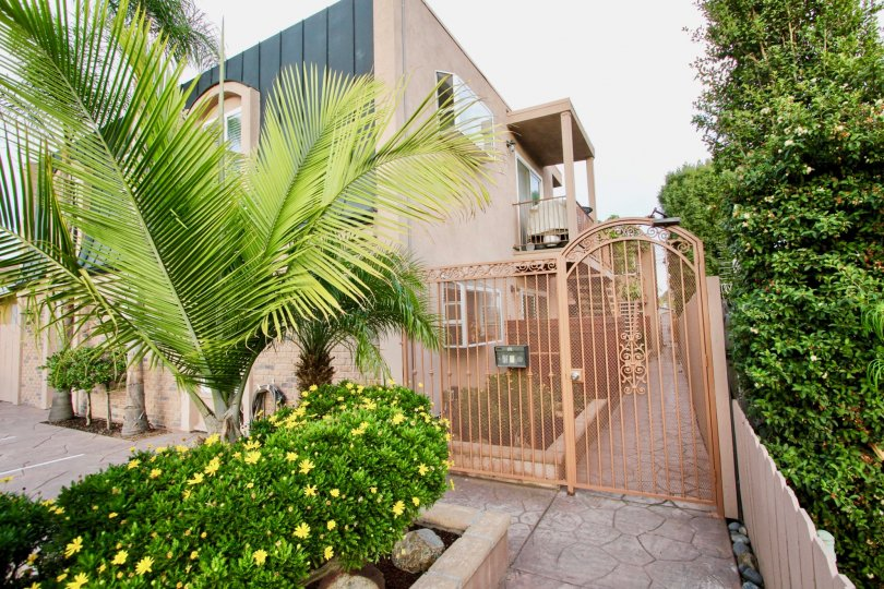 Residential Apartment Building with front gate, palm tree and bushes
