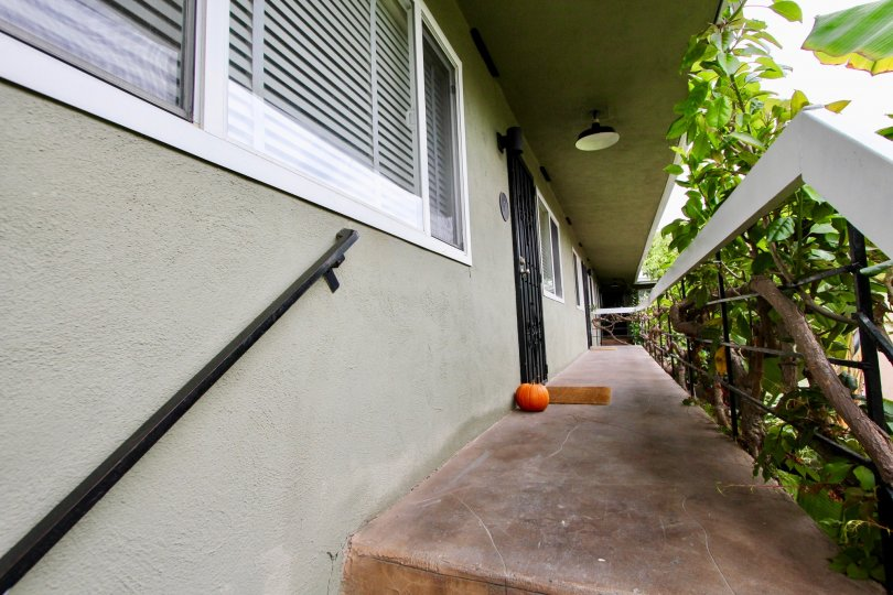 A pumpkin in front of an apartment in 4381 Oregon St, North Park CA.