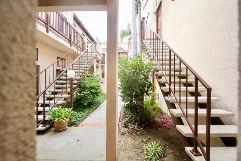 Casa Balboa I  ,: North Park ,California, long staircase. potted plants