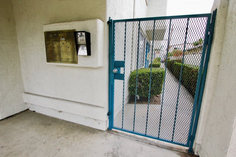 Gated apartment entrance at location Casa Diego II North Park California