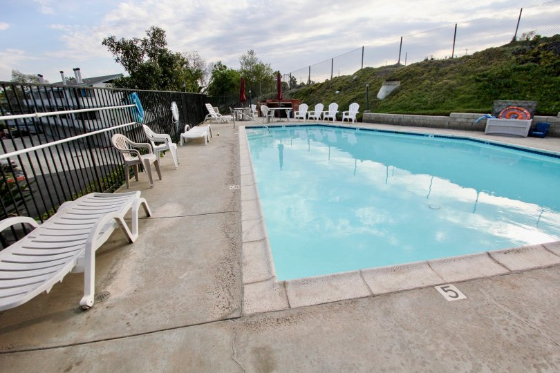 Cherokee Canyon ,North Par, California,swimming pool.white chairs