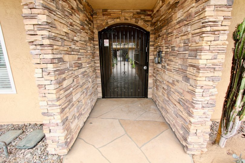 Brick entrance way to a home in the Cliffrock Manor community of North Park, California.