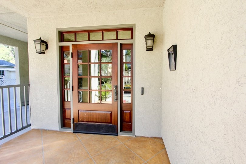 Front door entry of Coventry Woods community in North Park CA