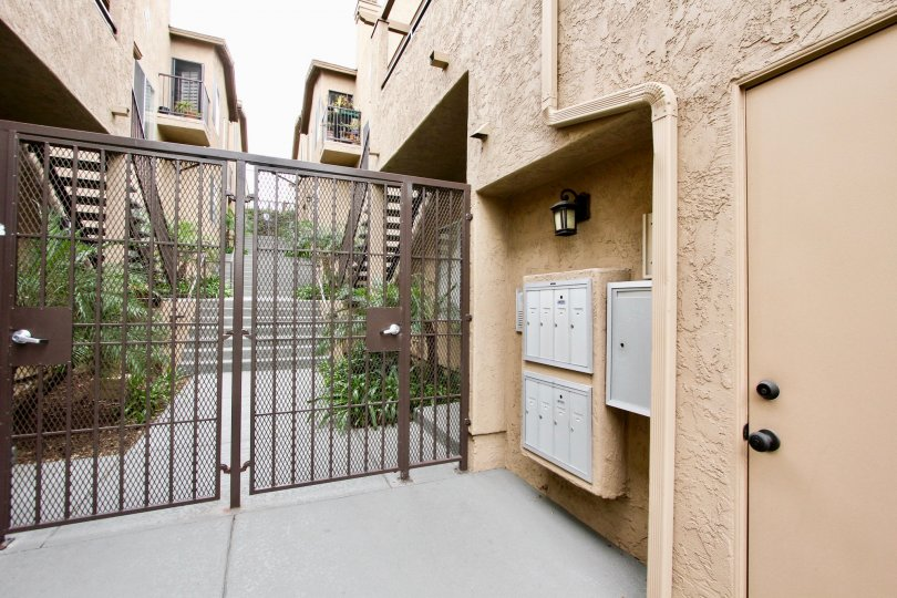Secure apartment building with locking gate in the Desert Knoll community of North Park, California