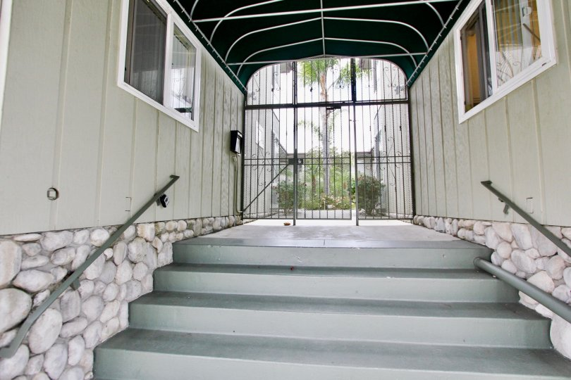 Stairway and secured entrance at Mississippi Townhomes in North Park California