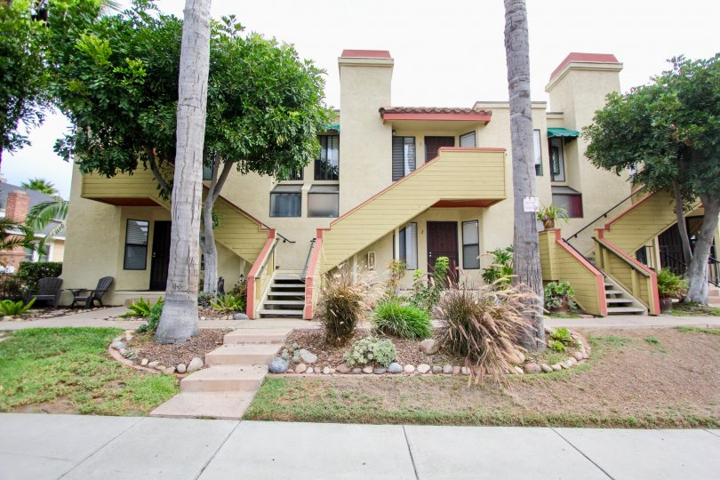 North Park River Oats, North Park, California, stairs, palm trees, grass, two story, apartments, rocks