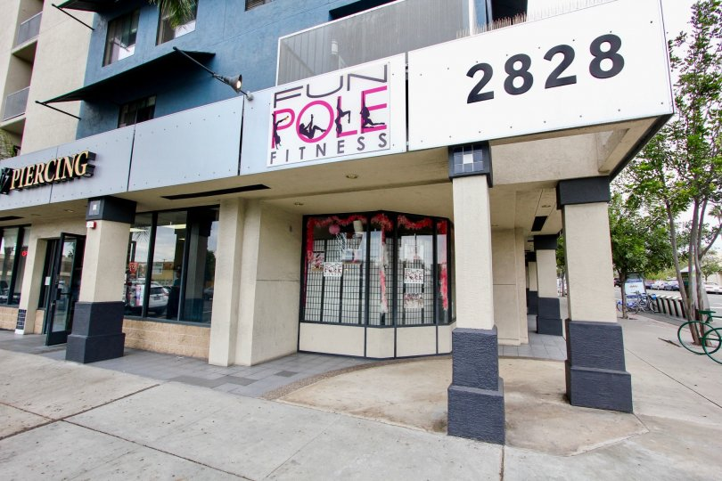 A pole fitness place for exercise in a nice area of California.