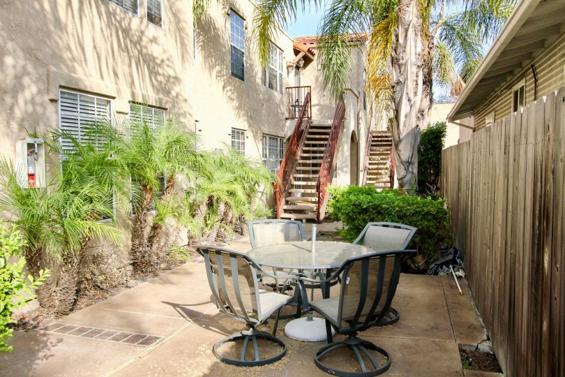 Patio with seating near residence at Swift Park in North Park California