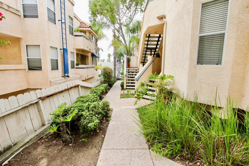 External apartment walkway at Uptown Villas in North Park, CA. Sunny day with palm trees.