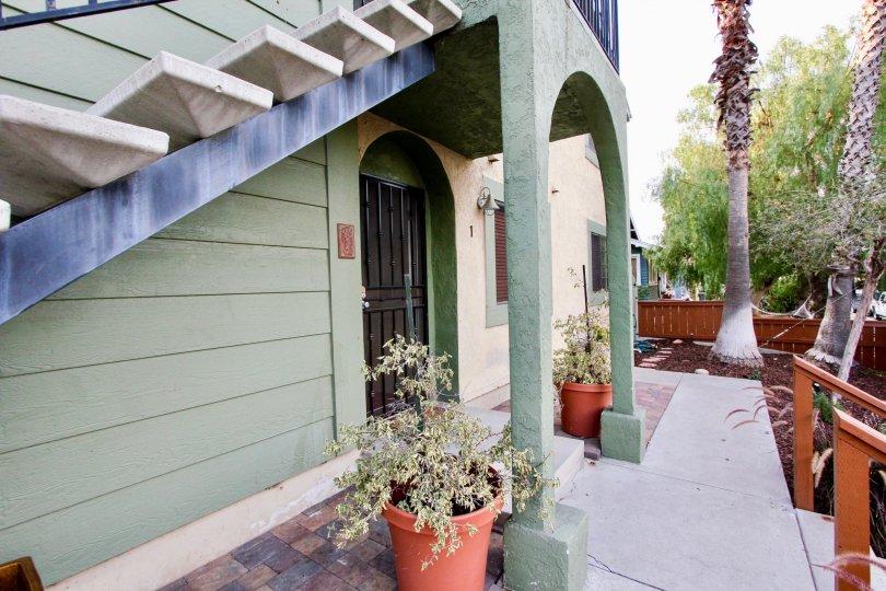 Village Herman , North Park  , California, staircase, green arch