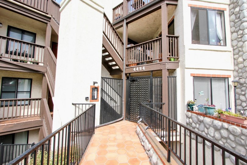 An entryway into the Bay Point apartment complex in Ocean Beach, CA.