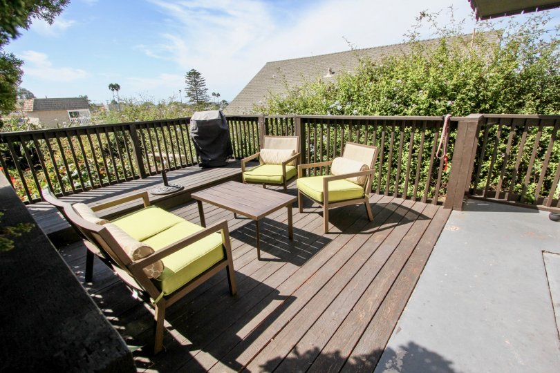 The sun glazes a patio in the Narragansett Villas community in Ocean Beach, CA.