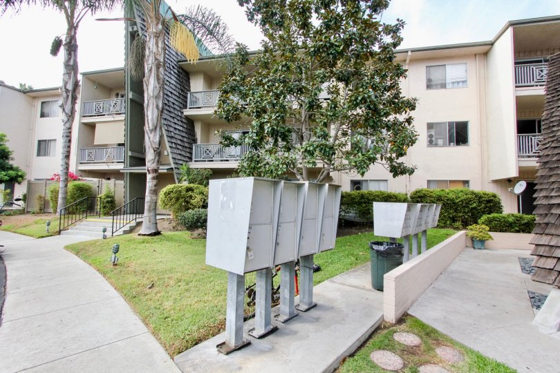 The stylish balconies and modern exterior at the Point Loma Villas in Ocean Beach