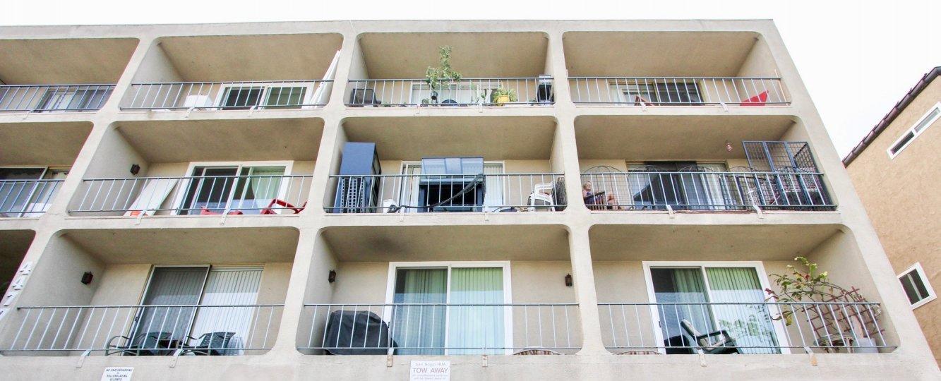 Private balconies at Sans Souc in Ocean Beach, California.