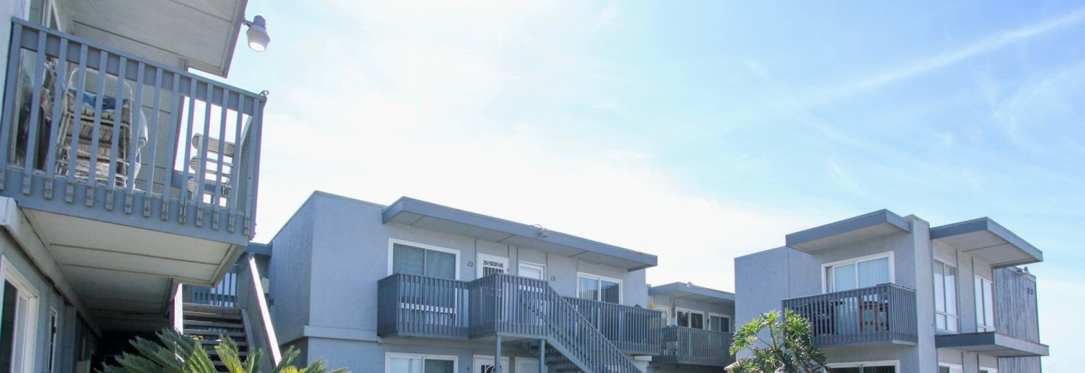 Private balconies at Spray in Ocean Beach, California.