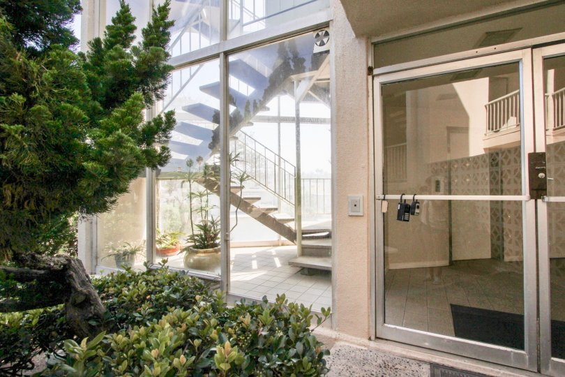 Beautiful pad locked glass door in ocean beach sunset towers, california