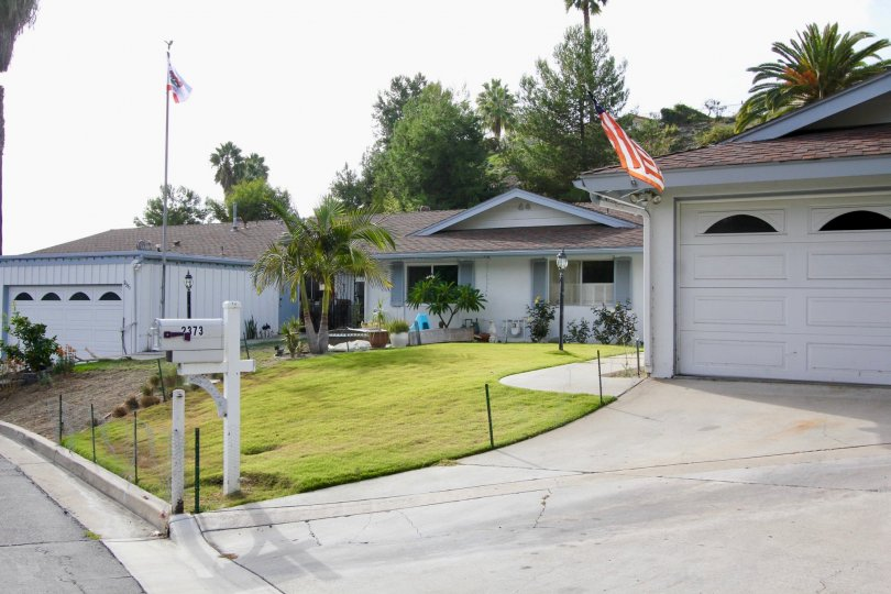 Camino Crest, Oceanside, California, white sky, lawn