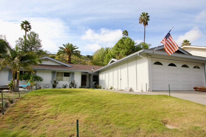 Camino Crest, Oceanside, California, lawn, tall trees, white