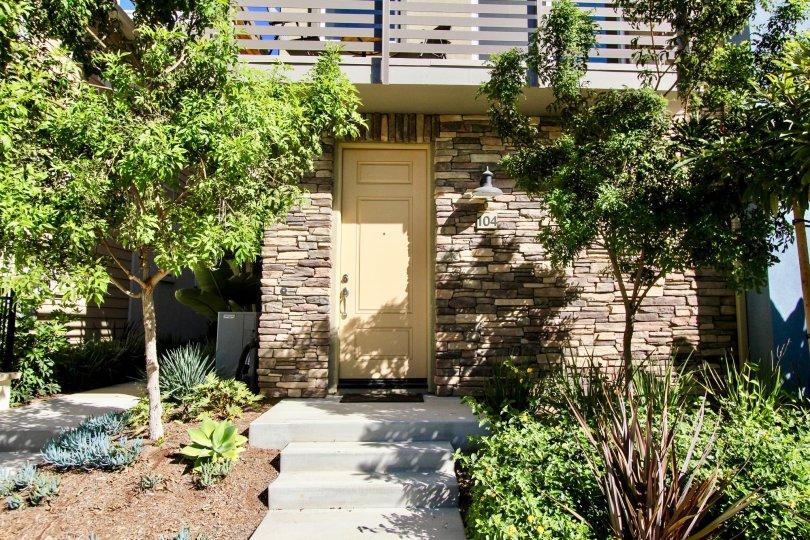 Cleveland Street 8 Townhomes, Oceanside, California, cream door, garden
