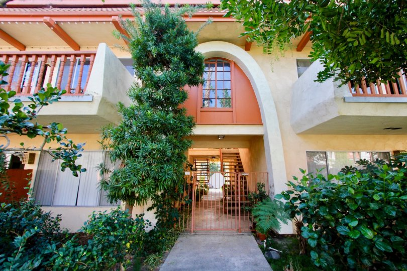 A sunny day in the area of La Montana, gated entrance, outside, plants, balcony