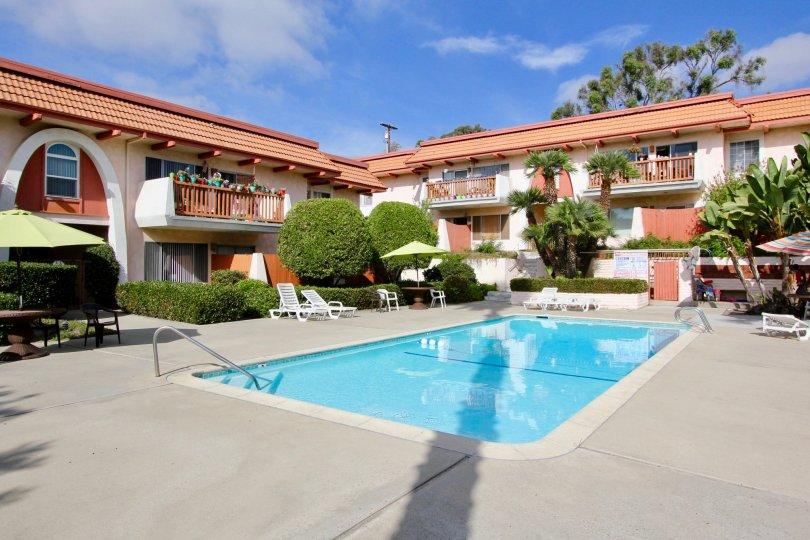 The poolside view of the La Montana complex located in Oceanside CA.