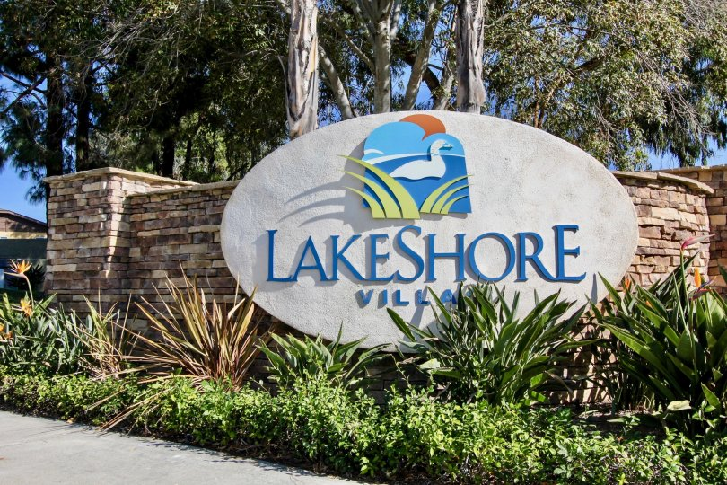Large entrance sign for Lakeshore Villas, Oceanside, California