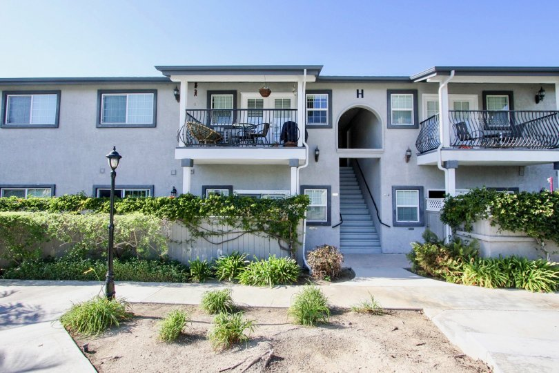 In the Las Brisas community in Oceanside, CA building boast patios.