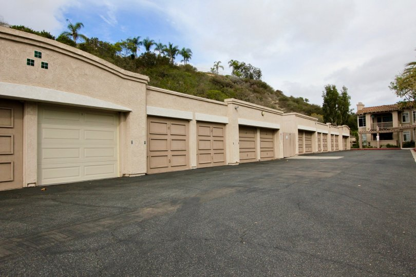 View of the garages and storage units at Lomas De Oro in Oceanside, California
