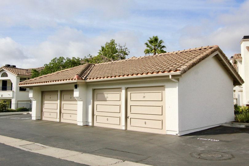 The garages in the community Mission Del Oro in Oceanside CA