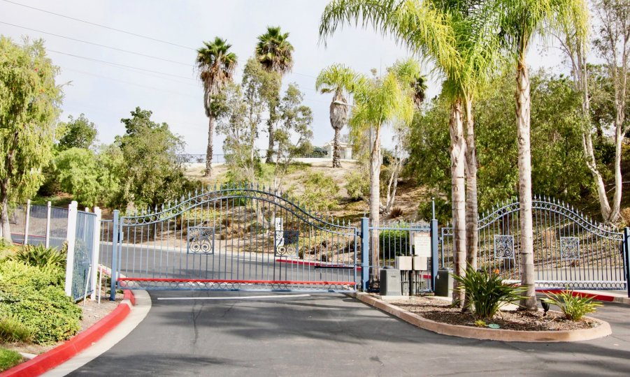 The gated entrance of the Mission Del Oro in Oceanside, Ca.