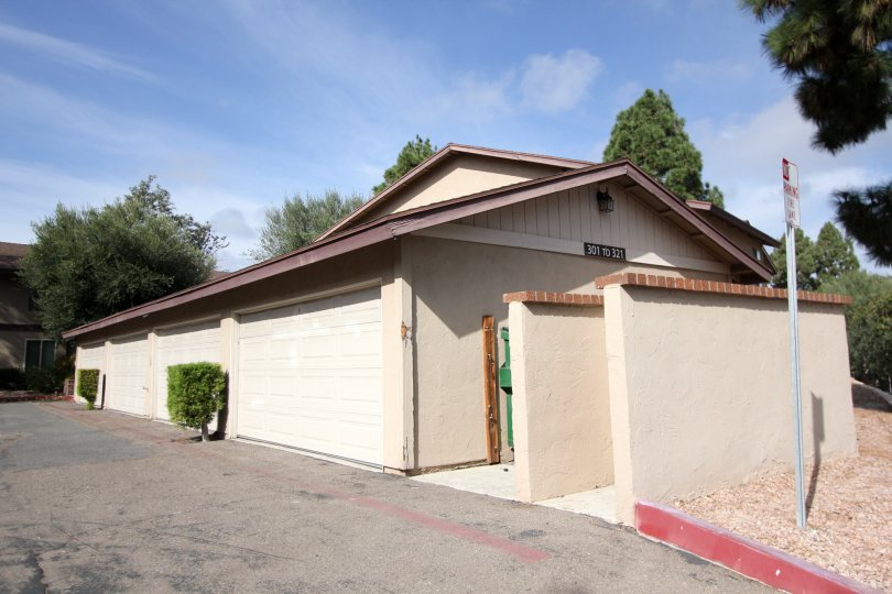 The private garage entrance of the condo homes at the Mission Vista apartment complex.