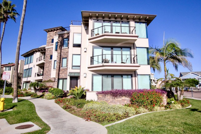 Montego Condominiums in Oceanside, California has scenic views and well-kept landscaping.