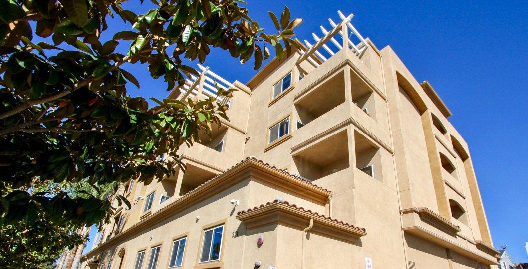 Private balconies at Nevada Manor in Oceanside, California.