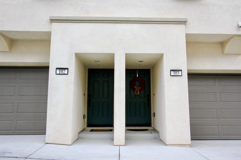 A view of the front entrance of North River Village in Oceanside, California