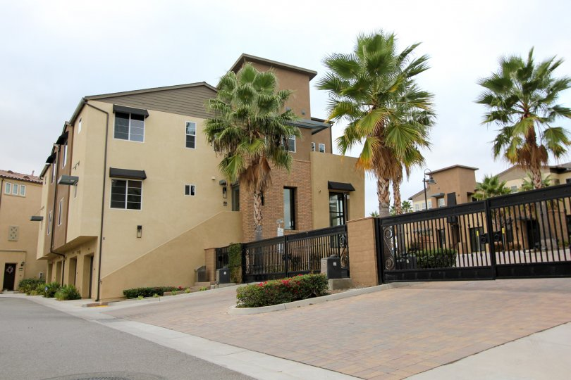 Minimalist beige and brown exterior condominiums in gated community surrounded by palm trees.