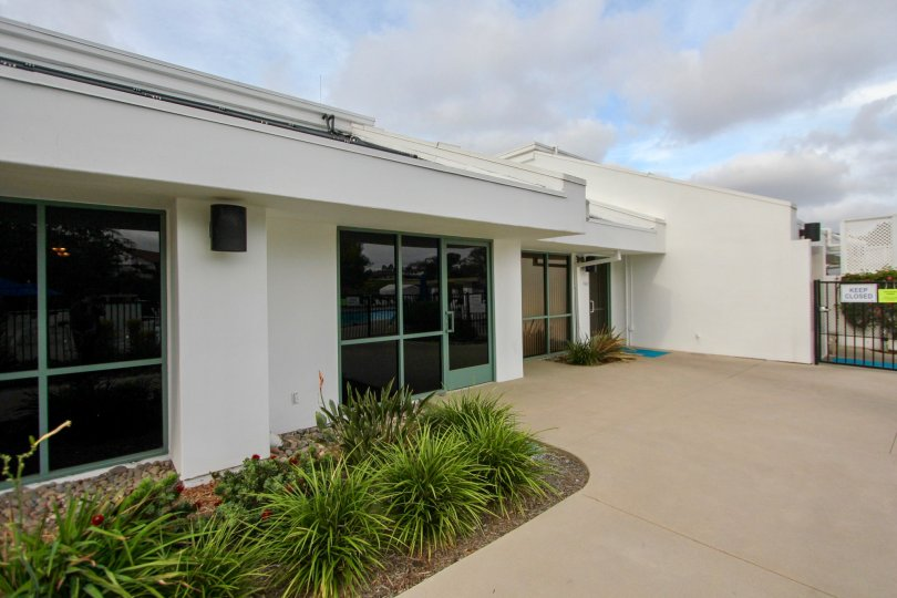 This sleek and modern entrance highlights the beauty of this building in Oceanside, California