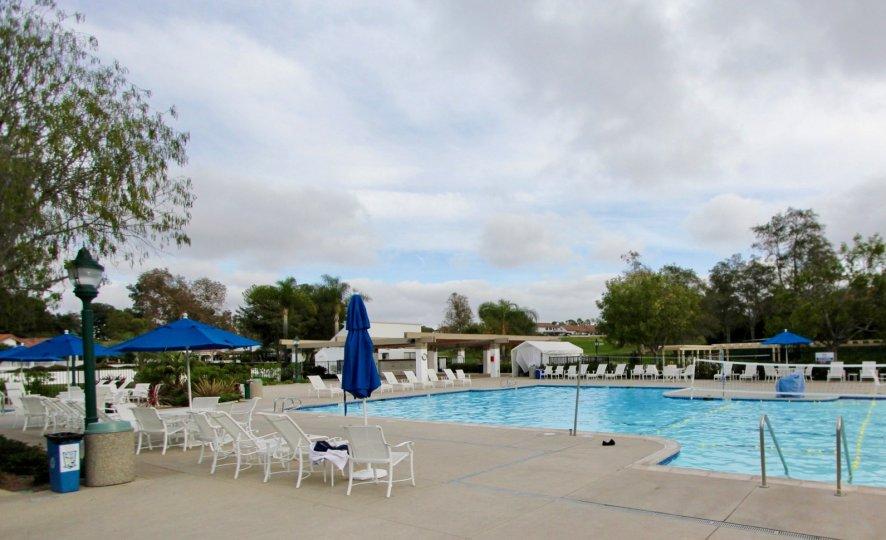 An empty community pool in Ocean Hills Country Club.