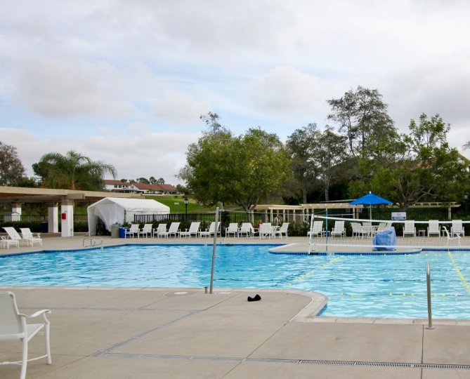 A cloudy day poolside at Ocean Hills Country Club in Oceanside, CA.