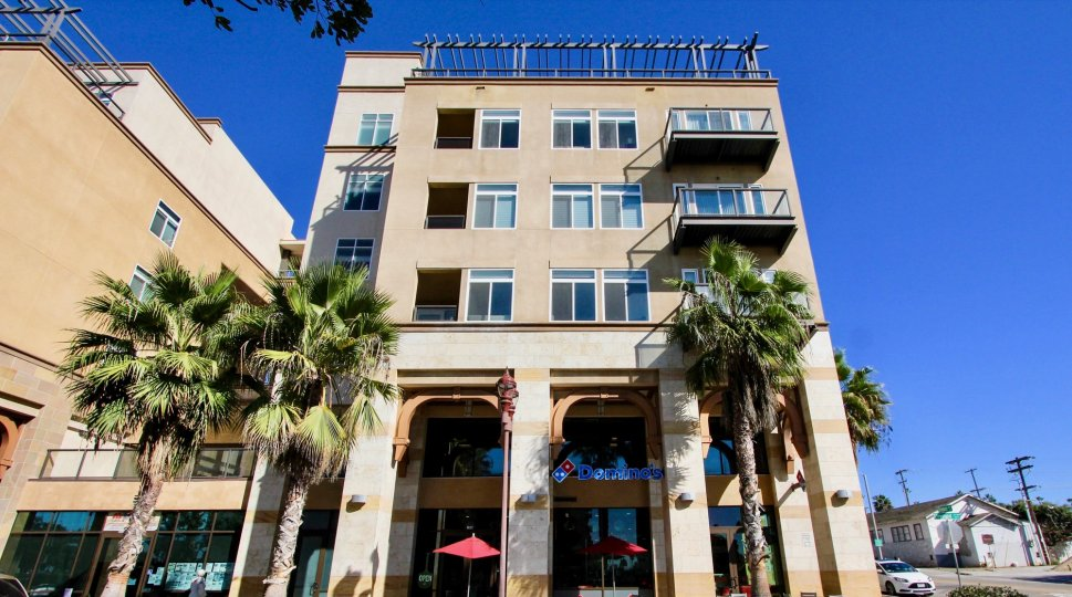 The exterior of the Oceanside Terrace building with a Domino's Pizza on the ground floor and palm trees in front.