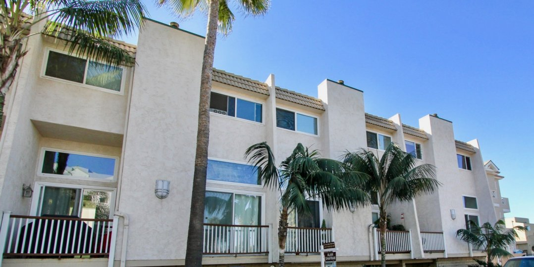 These Condos sit in the sun looking down on palm trees on this beautiful day