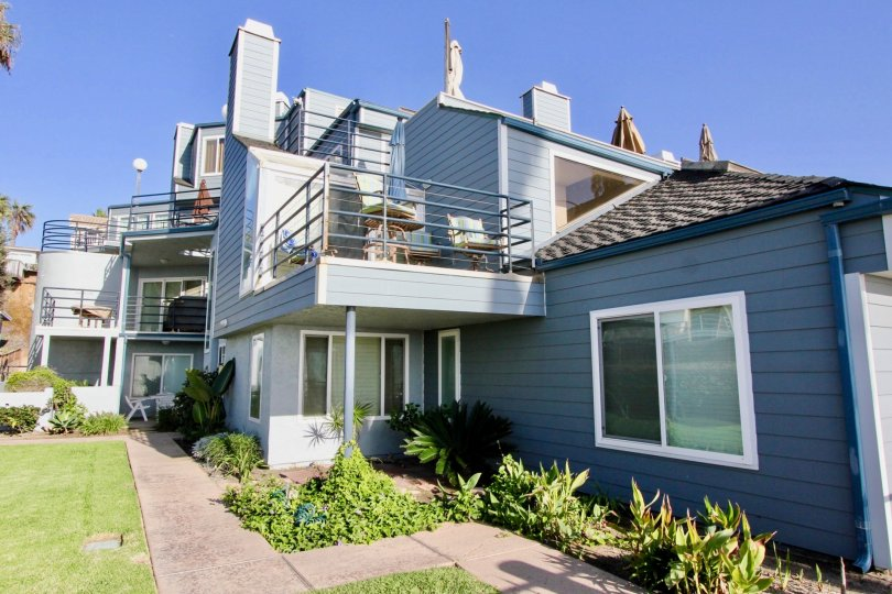 Deck and apartment in the Pacifica Strand community of Oceanside, California.