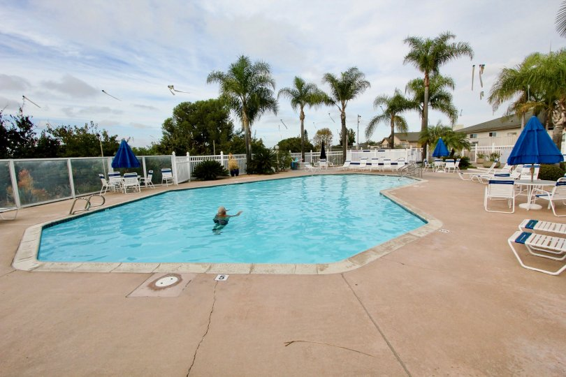 A wonderful day swimming at the swimming pool at the Pacifica community in Oceanside, California.
